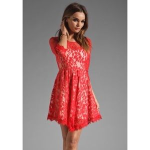 Free People Red Floral Lace Mesh Dress